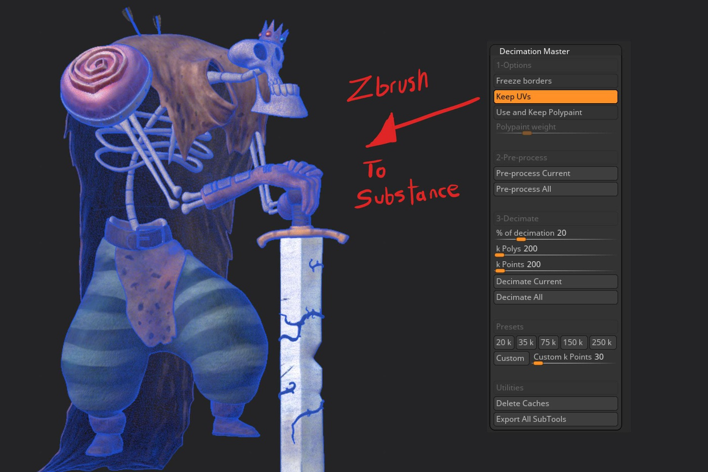 zbrush model painting detailing uv substance painter