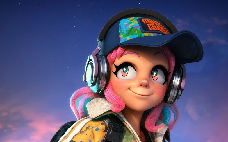 girl, pink hair, character design, substance painter, character