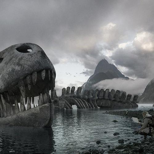 arch-viz 3d concept dinosaur skeleton beach