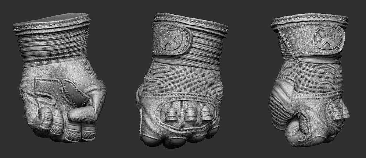 wolverine marvel gloves 3d sculpt