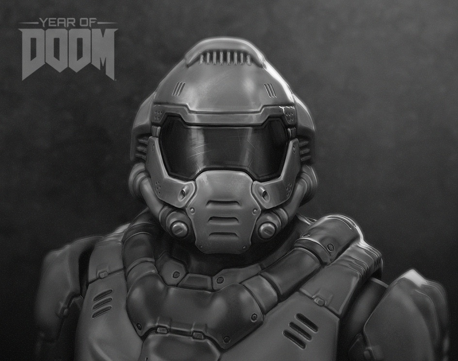 DOOM Marine (The Doomguy) fan-art redesign (portrait)by Sergey Makarich