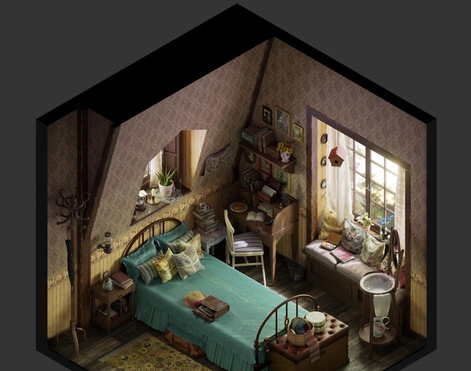 Vintage bedroom - Isometricby joseolmedo