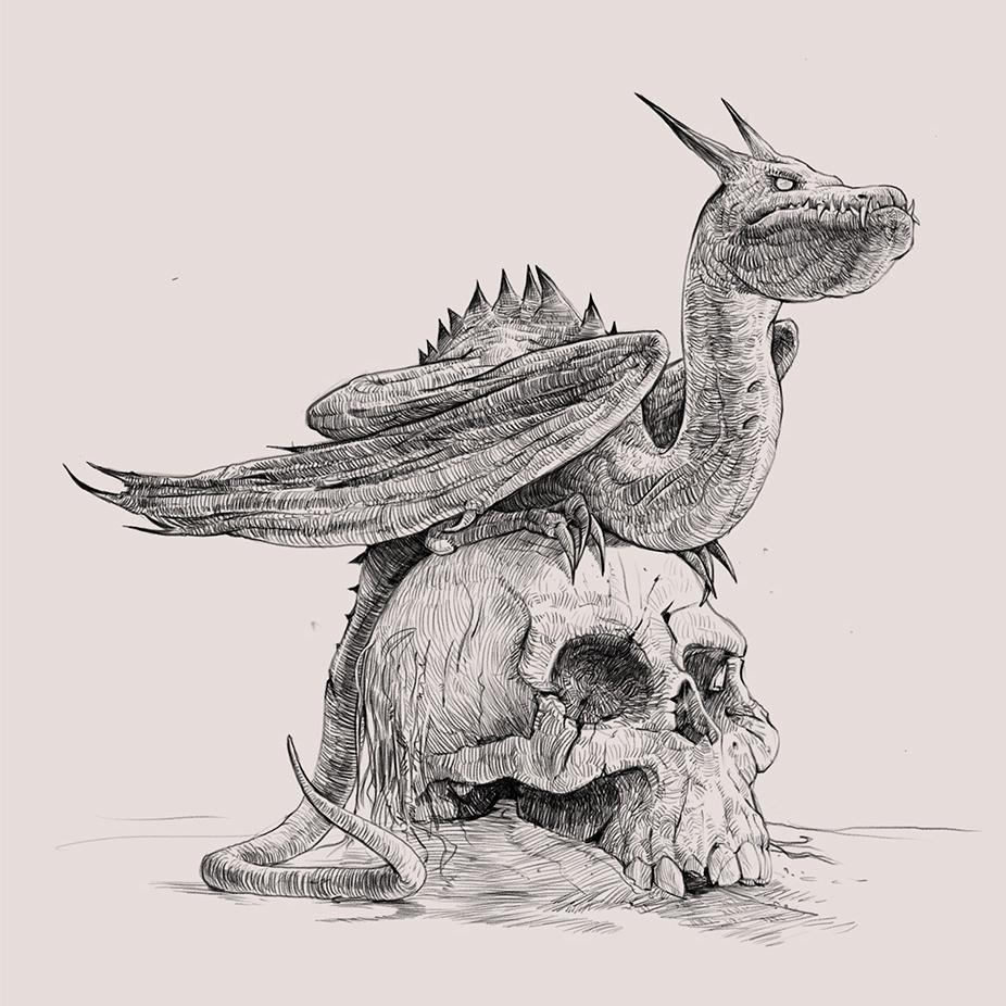 Dragon sat on a skull