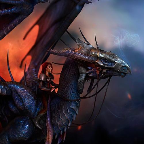 detailed warrior colour  dragon reptilian creature design render 3d sculpt