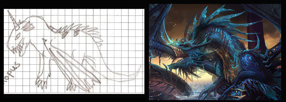 dragon 2d illustration reptilian monster digital art