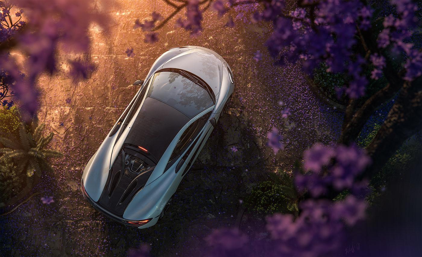 car 3d advertisement flowers