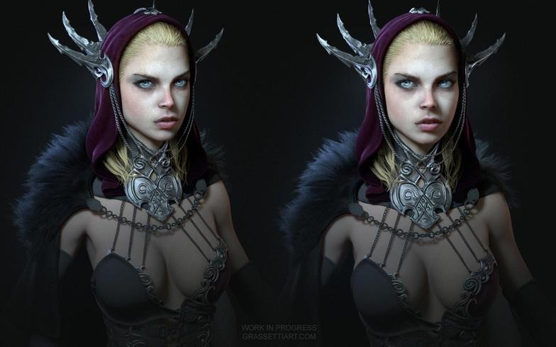 sketchbook female  fantasy 3d model character design render