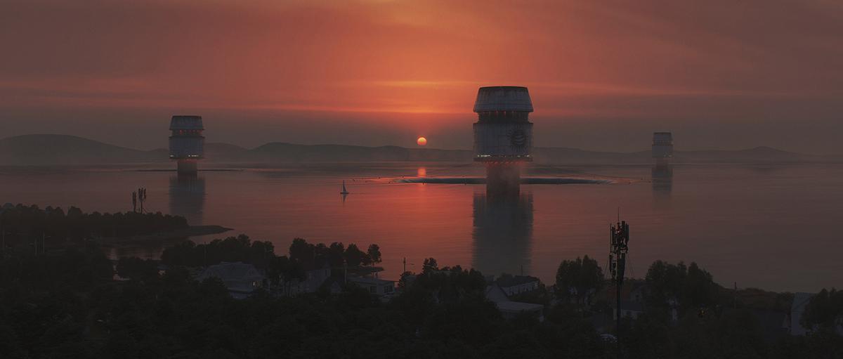sunset boat coast
