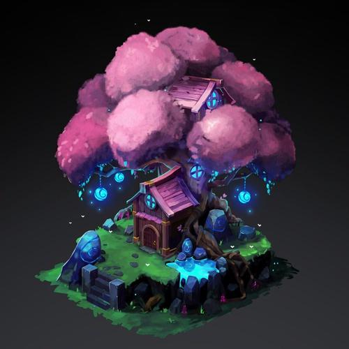 treehouse nature 3d model environment render creation digital art
