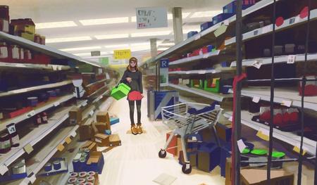 woman store shop basket 2d illustration digital art