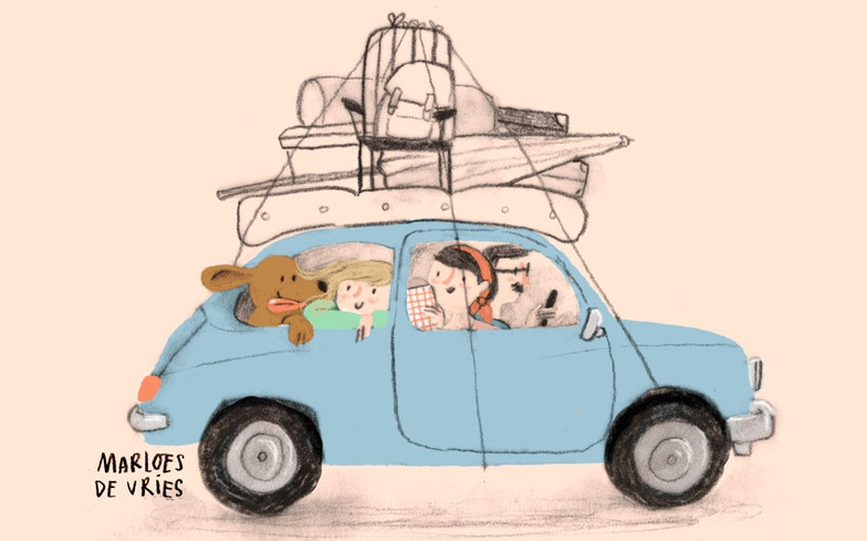 car, family, road trip, vacation, stylized characters