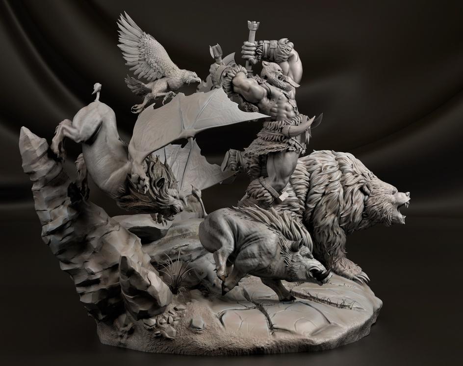 Rexxar and his animal companions | Warcraft Fanartby Martín Sánchez Almeida
