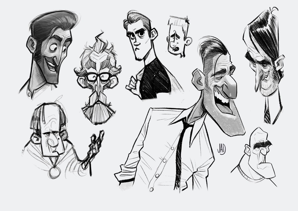 male character profile sketches