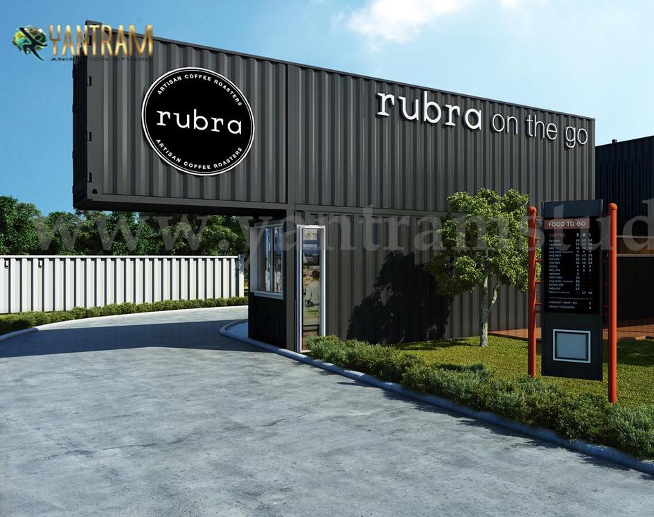 Rubra Coffee Shop 3D Exterior Design by Yantram Architectural Visualization Studio - Amsterdam - Netherlandby Ruturaj Desai
