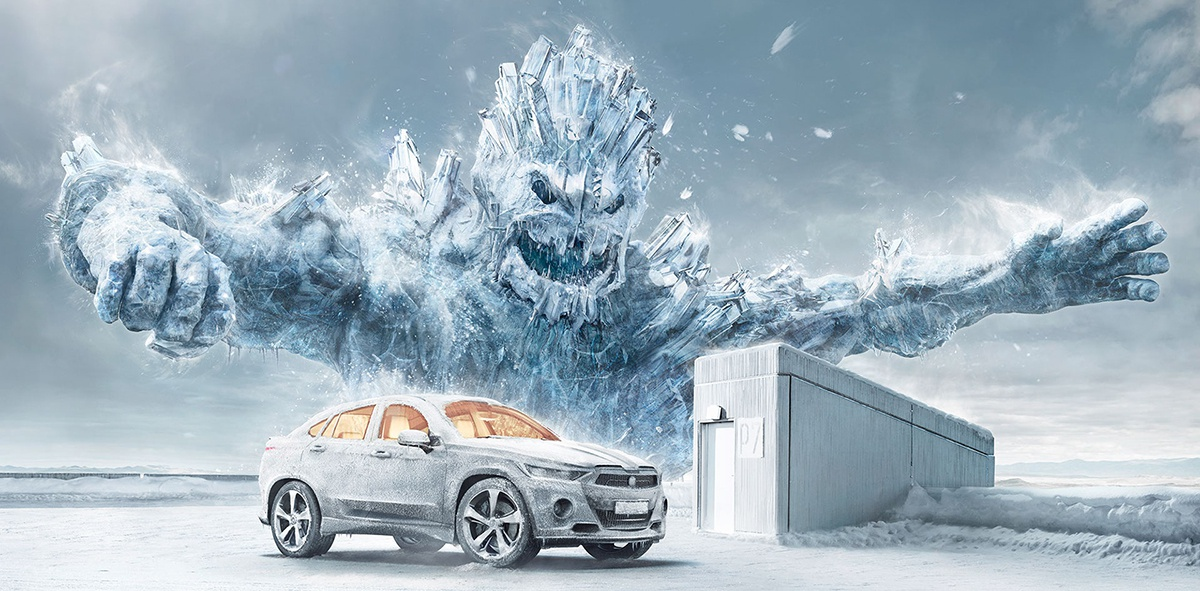 cgi advertising winter car graphic