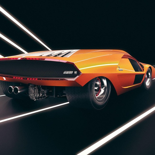 orange sports car cgi modelling