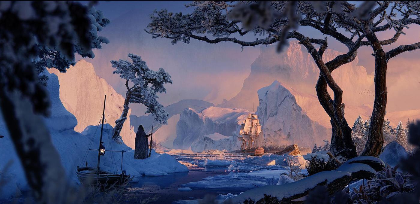 frozen world scenery 2d illustration