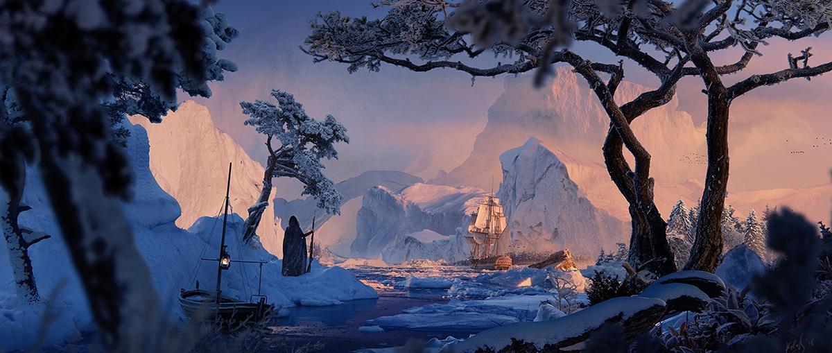 digital painting winter landscape