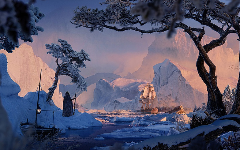 wintery ship scene