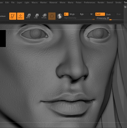 face displacement zbrush model