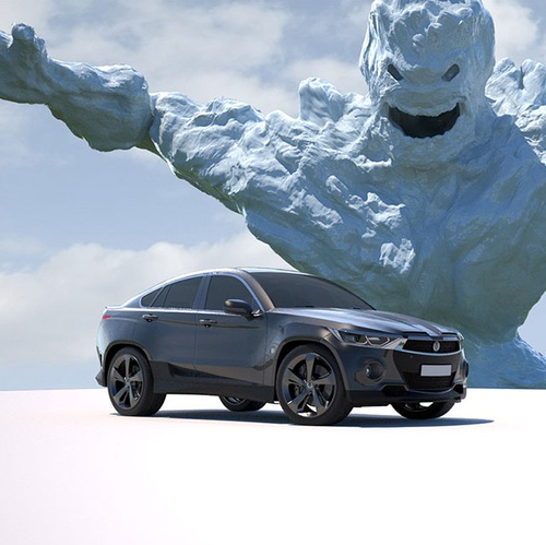 ice creature with car