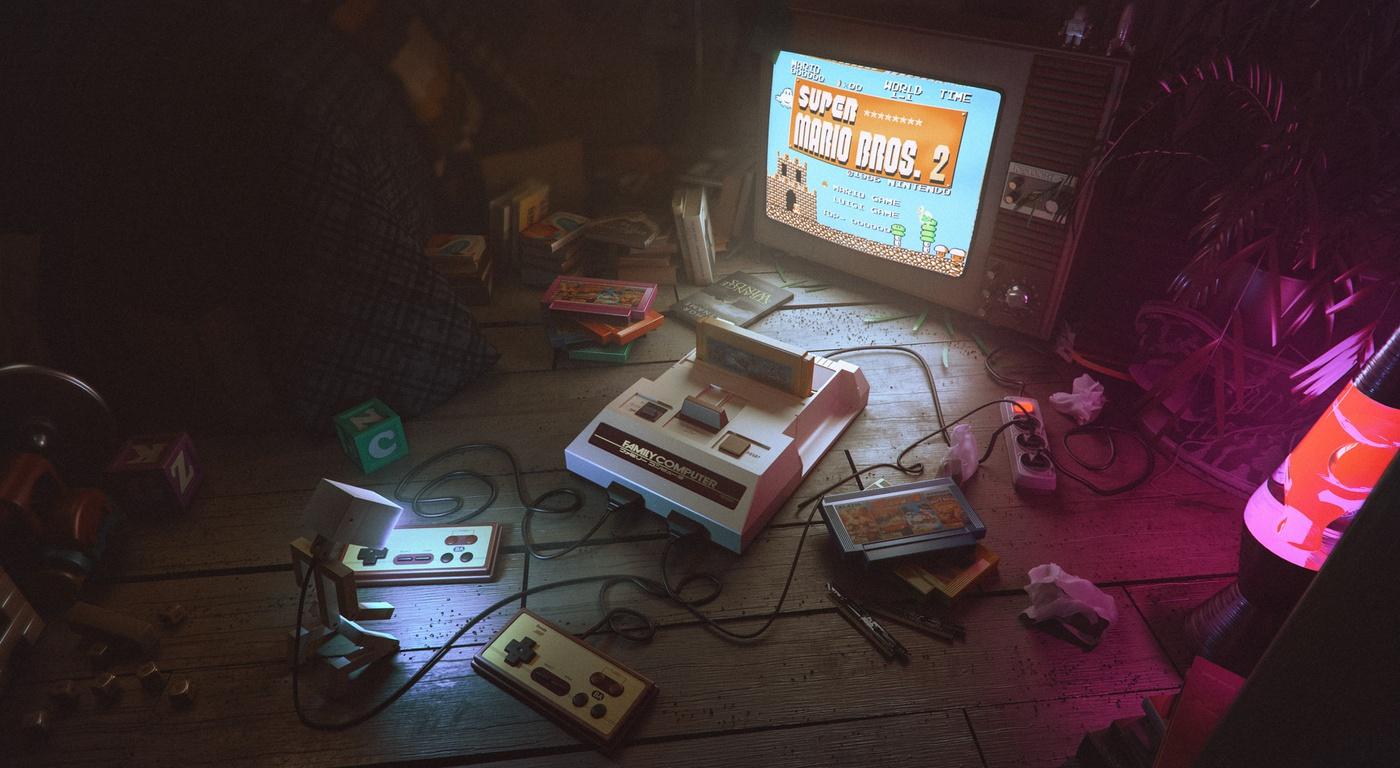 gaming setup 3d model render environment