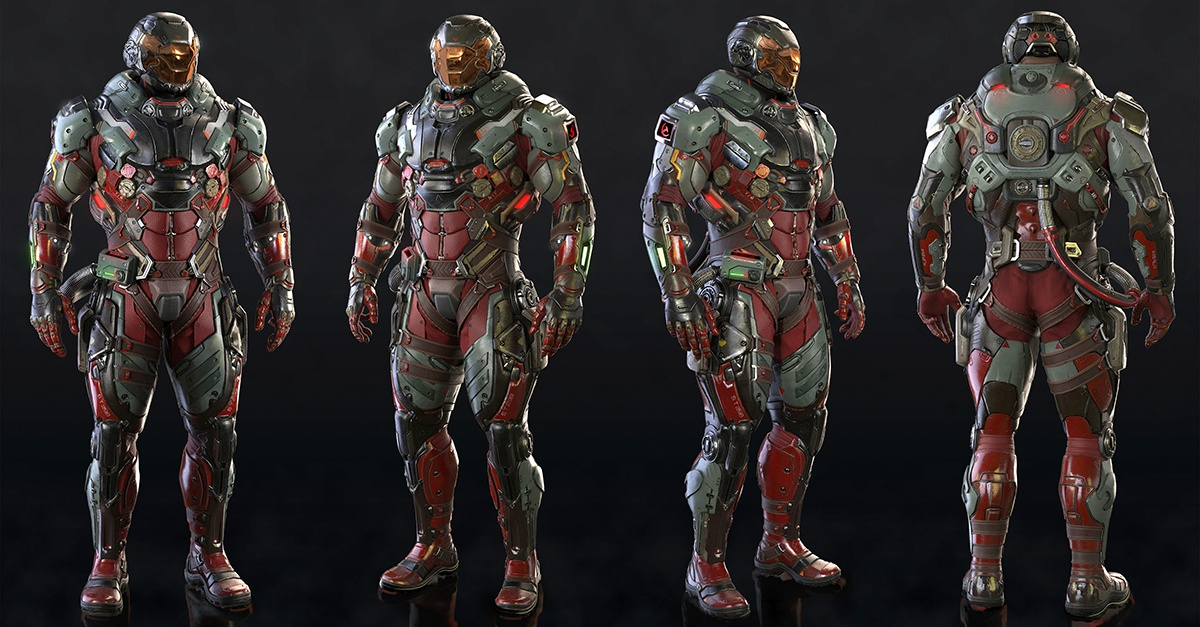 futuristic 3d character armoured suit
