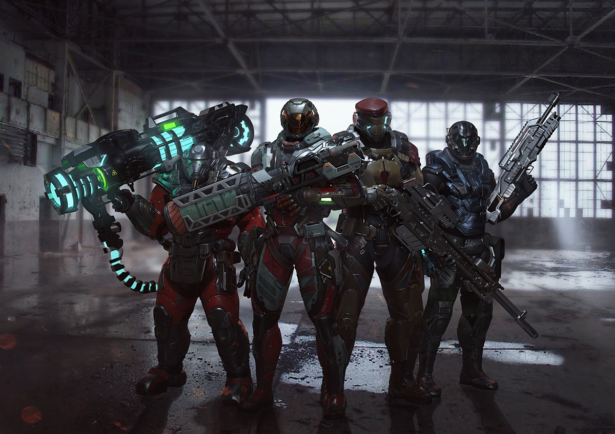 futuristic armoured 3d characters