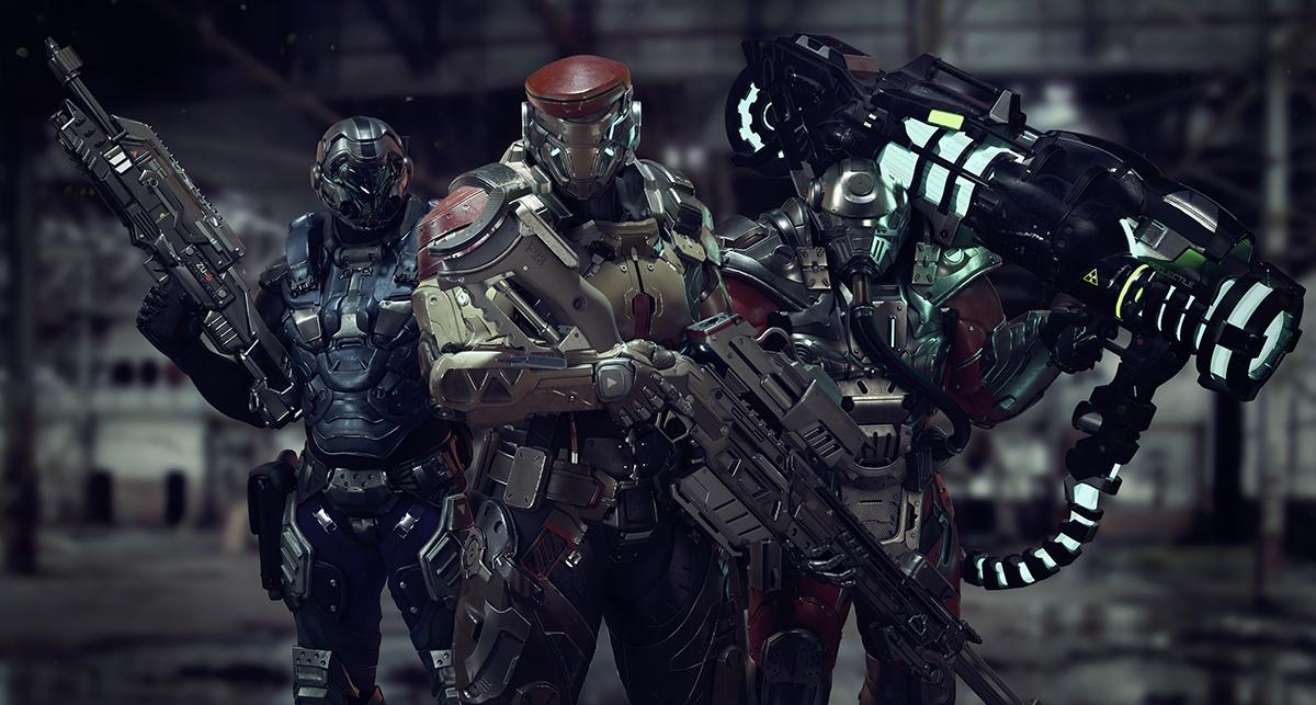 3d character armoured laser gun