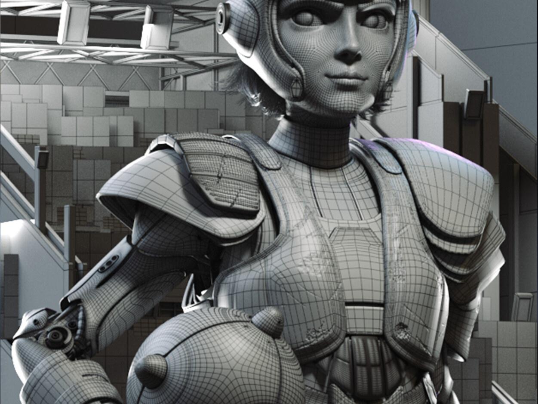 anime inspired character  design 3d battle alita render model