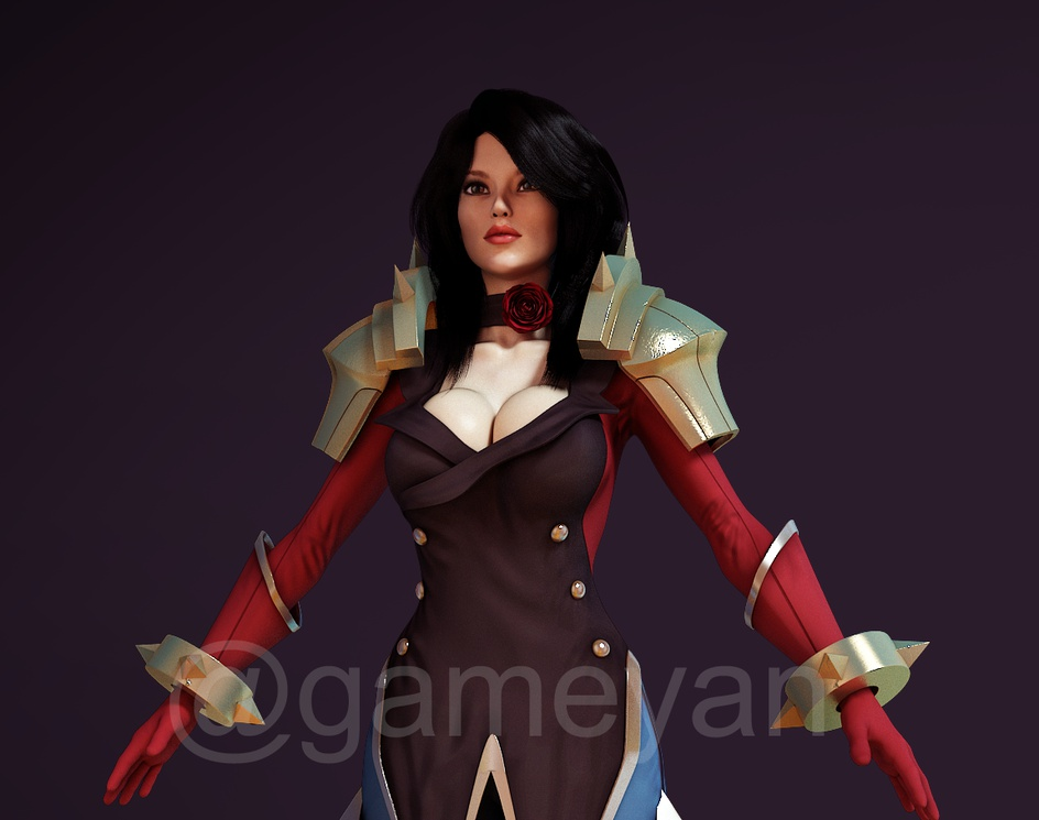3D Female Fantacy Warrior Character Modeling for Games By 3D Game Art Studioby GameYan
