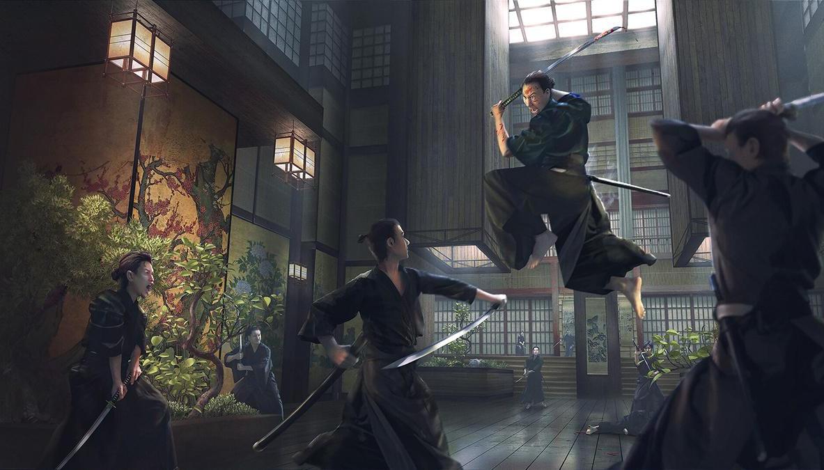 eastern asian inspired samurai fight