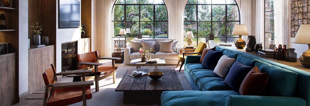 Model & texture a rustic living room in 3ds Max, Corona