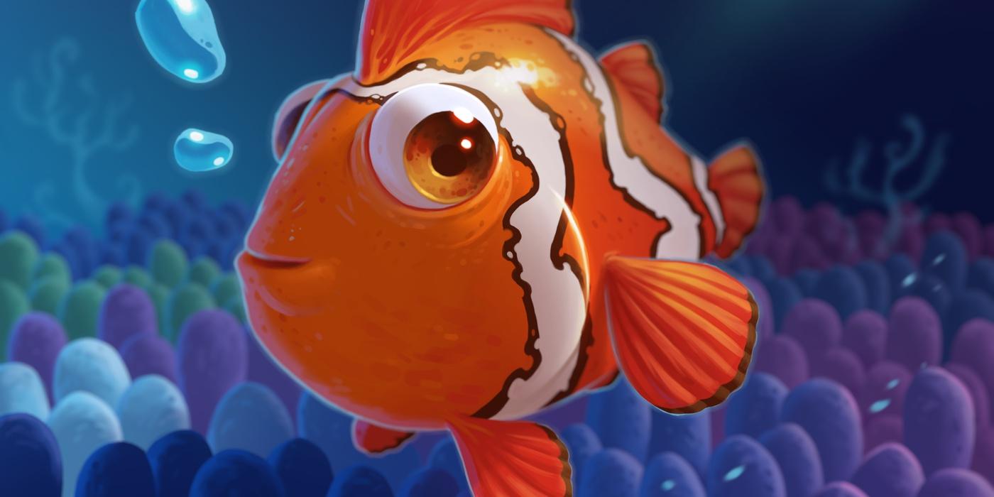 seabed 2d illustration ocean render model clownfish
