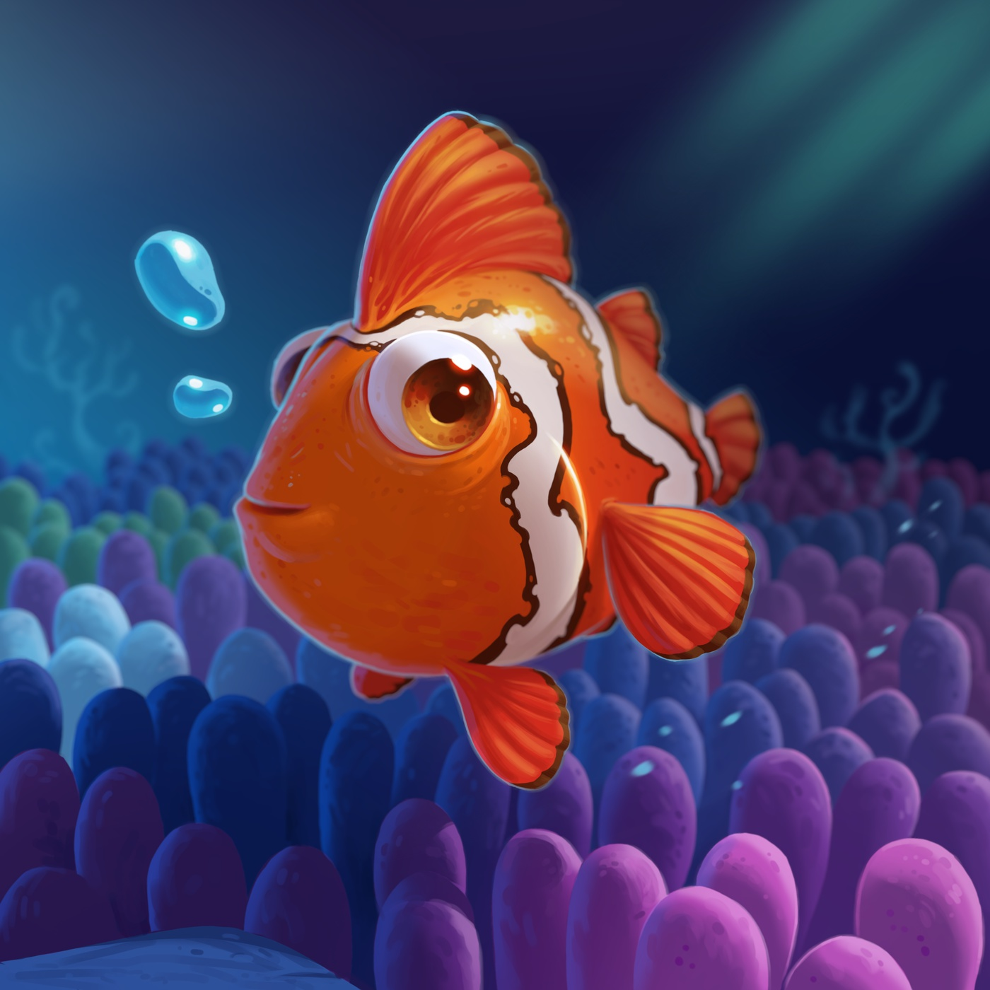 bubbles ocean sea clownfish rendering depth of field