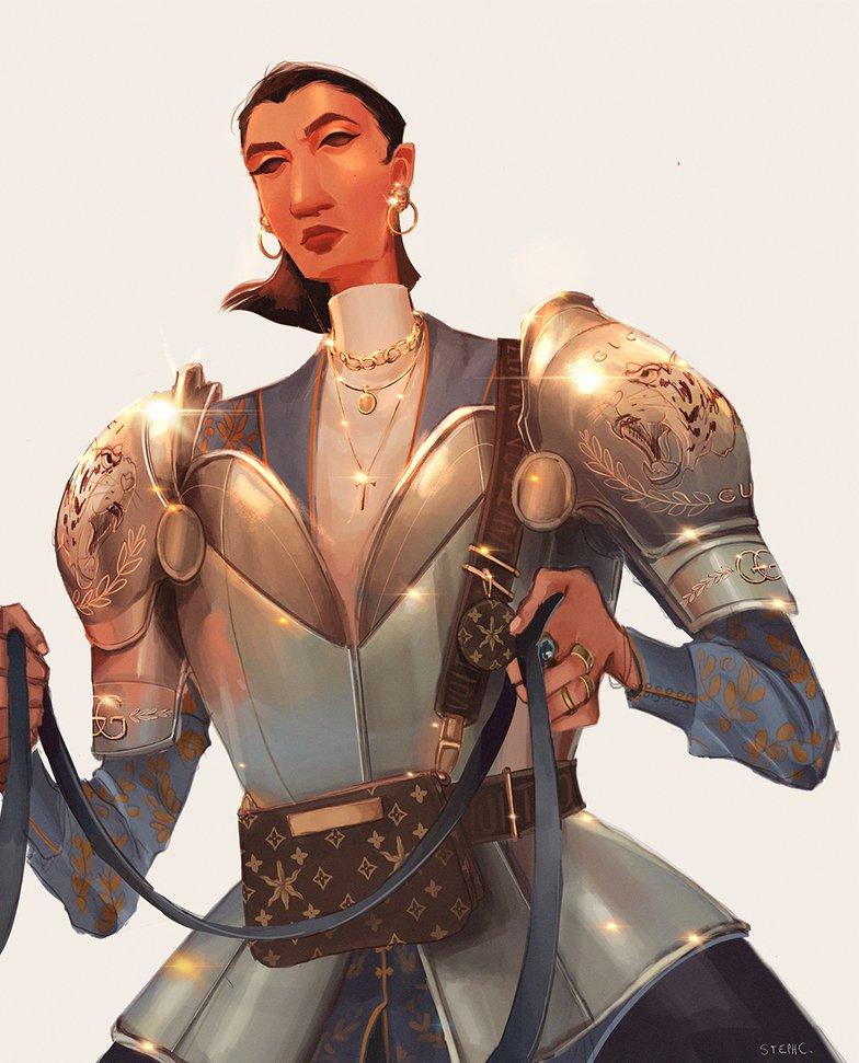 female knight armour illustration