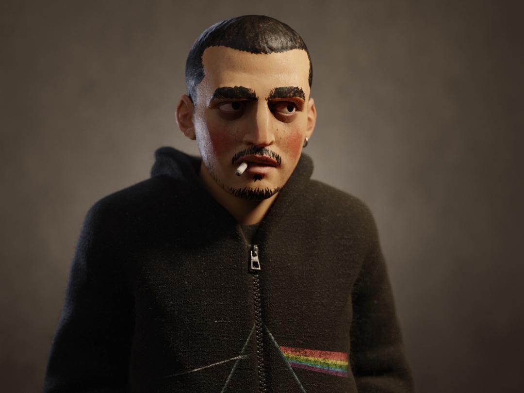 self portrait 2d model male realistic stylised