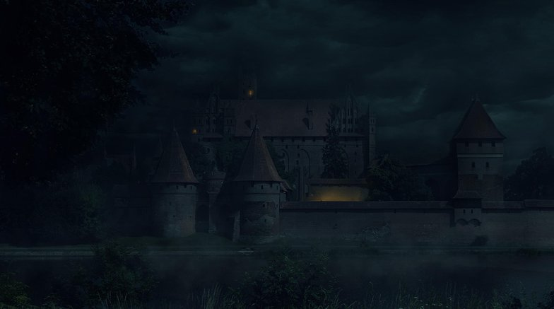 foggy, weather, night, cold, castle, matte painting, photoshop,