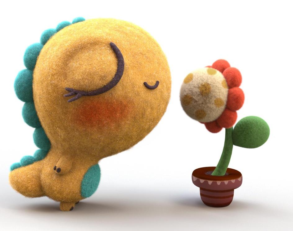 Baby Dino Loves Flowerby Ali Chenari