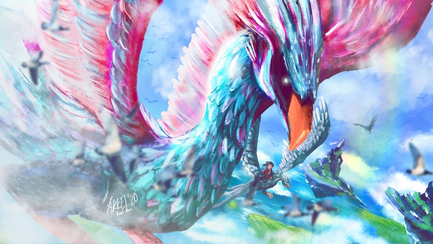 flying bird 2d illustration