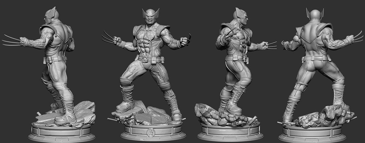 marvel wolverine 3d sculpture