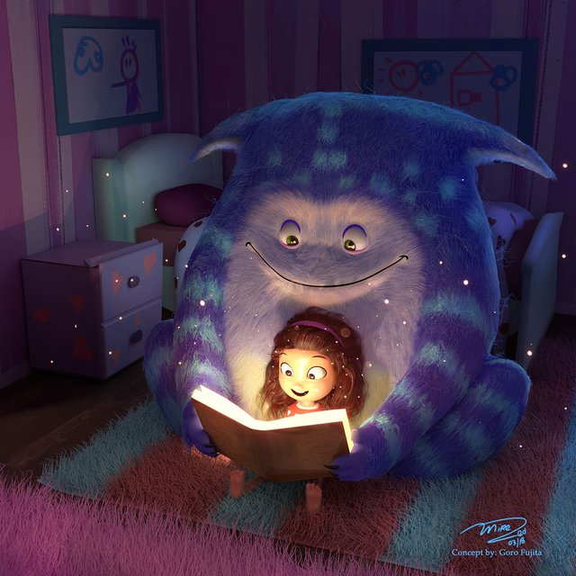 furry creature reading bedtime story to girl