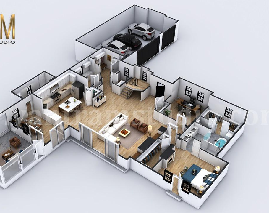 4-bedroom Simple Modern Residential Floor Plan Design Companies by 3D Architectural Design, Liverpool – UKby Ruturaj Desai