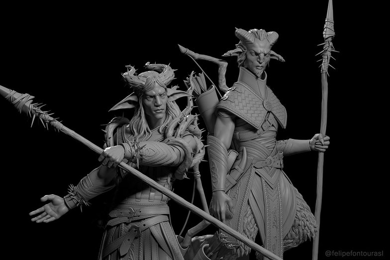 sculpture rendered fantasy elf and satyr