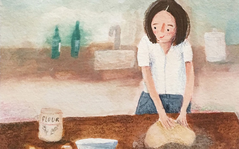 painting, stylized character, baking