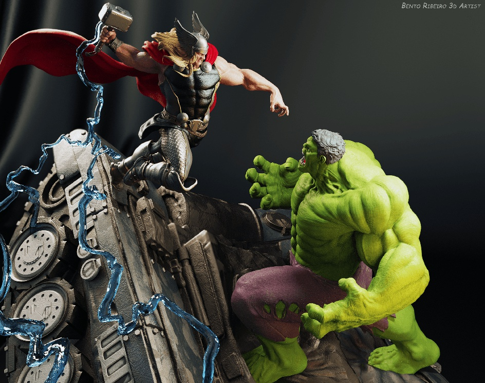 Thor Vs Hulk - god against monsterby Bento Ribeiro