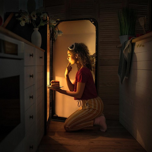 craving eating girl fridge realistic photography