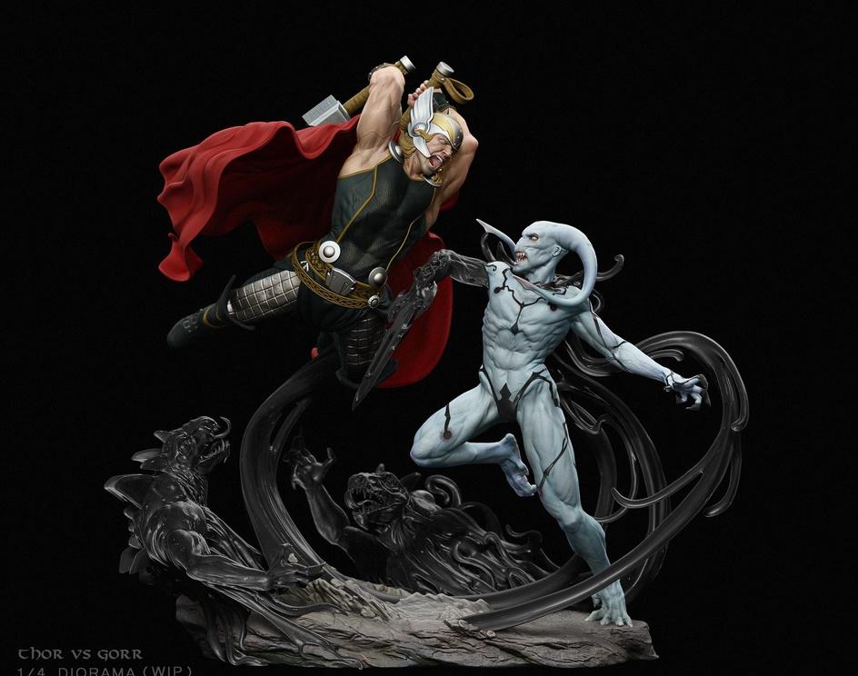 Thor vs Gorr 1/4 Diorama Fanartby Robson Barros