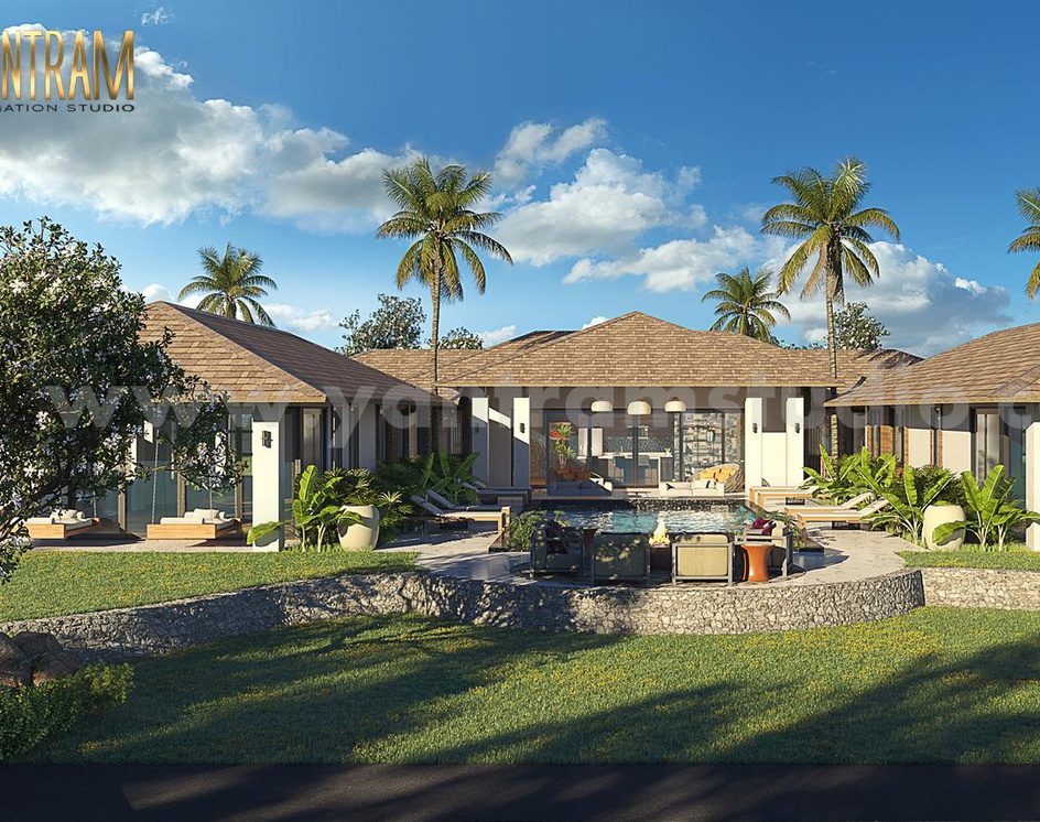Front Yard Landscaping Residential House 3D Exterior Designers by Architectural Visualisation Studio, Berlin - Germanyby Ruturaj Desai