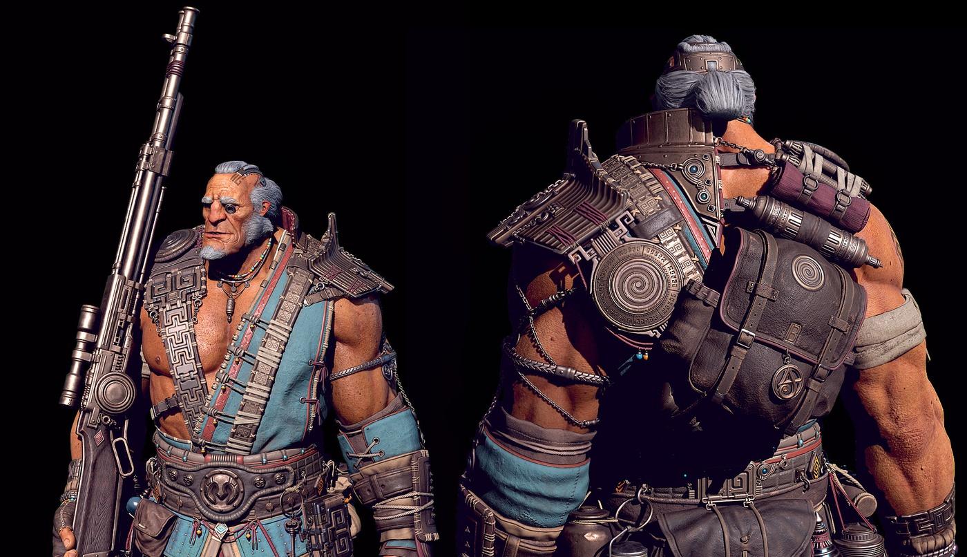 giant marksman 3d render male character fantasy design